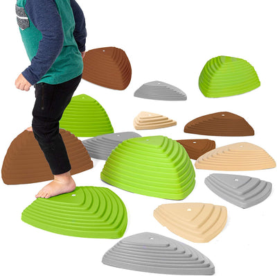 Stepping Stones for Kids, 15 Pack - Earth Tone River Stone Exercise Blocks for Balance and Coordination - Indoor Outdoor Childrens Play Set