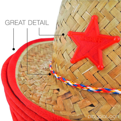 Dozen Straw Cowboy Hats with Cowboy Bandanas (6 Red & 6 Blue) for Kids - Makes Great Birthday