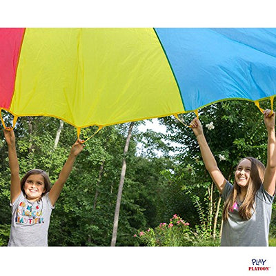 12 Foot Play Parachute with 16 Handles - New & Improved Design - Multicolored Parachute for Kids