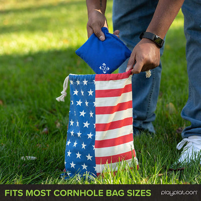 Play Platoon Cornhole Bag Holder, Navy Blue - Tote Bag for Carrying Corn Hole Bean Bags