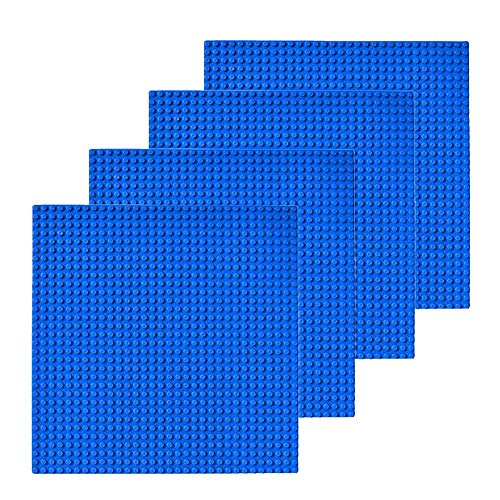Building Bricks - 10 x 10 Inch Blue Stackable Baseplate (4 Pack) Classic Baseplates Compatible with All Major Brands