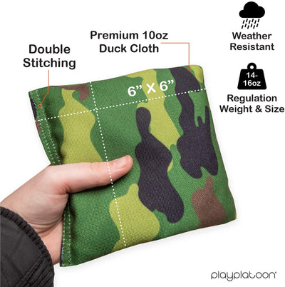 Weather Resistant Cornhole Bean Bags Set of 8 - Regulation Size & Weight - 4 Green Camo & 4 Desert Camouflage Corn Hole Bags