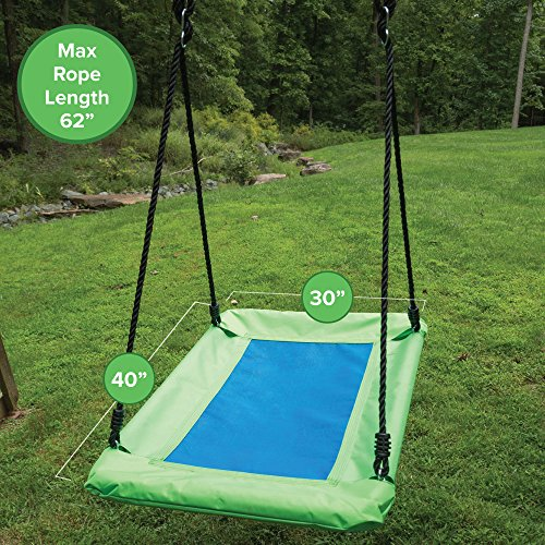 Play Platoon Outdoor Tree Swing for Kids & Adults - Rectangle Swing 40 x 30 Inches - Green & Blue Rectangular Swing