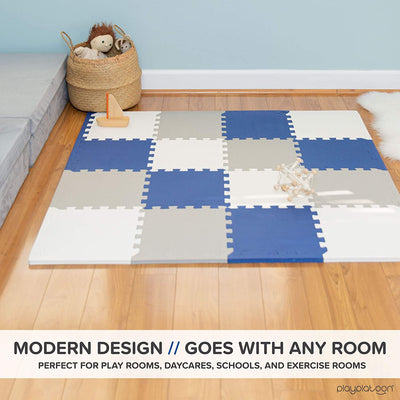 "Non-Toxic Foam Puzzle Floor Mat, Comfortable, Extra Thick, Cushiony Exercise and Play Mat for Toddlers, Kids & Adults, 16 Tiles (12""x12""), Grey/Cream/Navy"