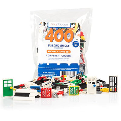 400 Piece Windows, Doors, and Roof Tops Set - Building Brick Compatible Play Kit