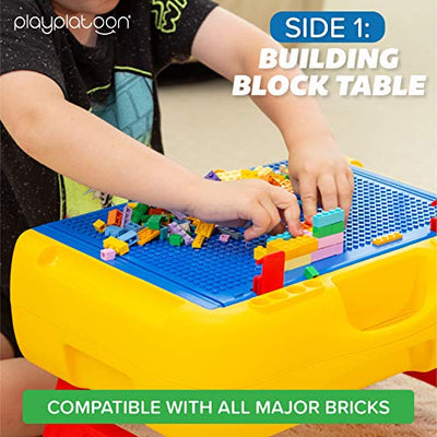 3 in 1 Kids Activity Table Set - Portable Building Brick Table, Craft Station and Learning Table - Includes 300 Blocks, 4 Crayons and 4 Sheets of Paper