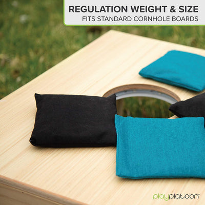 Weather Resistant Cornhole Bean Bags Set of 8 - Regulation Size & Weight - 4 Teal & 4 Black Corn Hole Bags