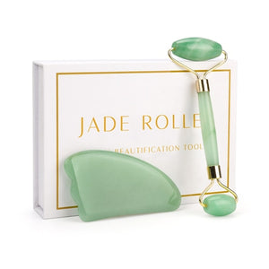 Kit Rolo Massageador Facial Jade Quartzo Rosa + Guasha Rosa
