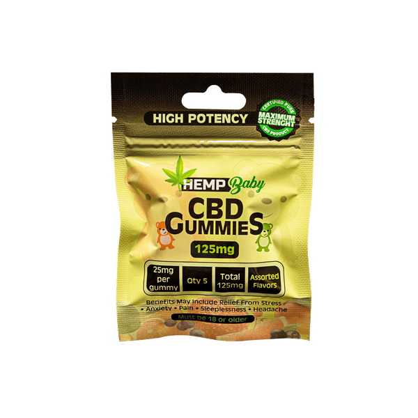 CBD High Potency Gummies 5ct pouch - HempBaby