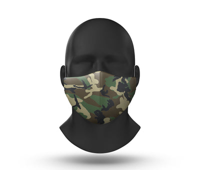 green camo facemask front view