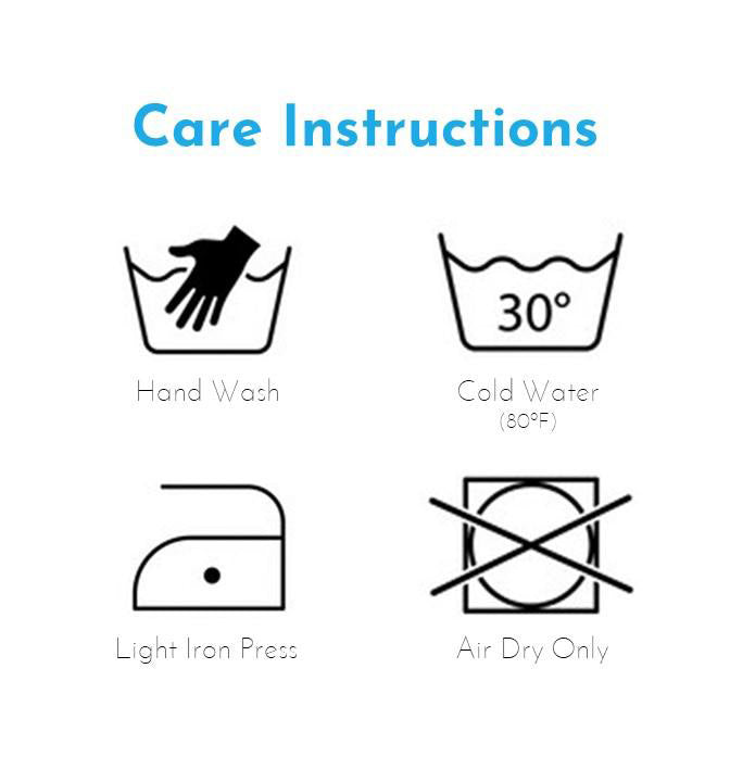Face Mask Care Instruction Hand Wash in Cold Water
