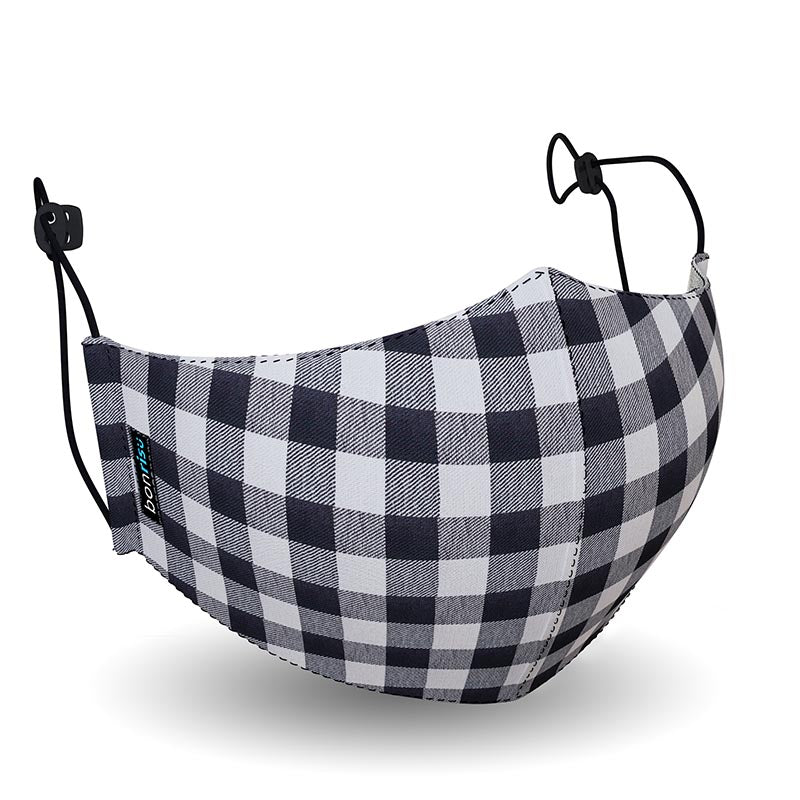 Original Mask - Black Gingham - 3D View