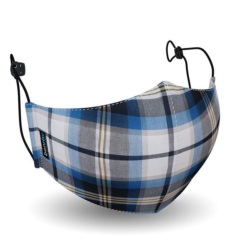 Original Mask - Blue Plaid - 3D View