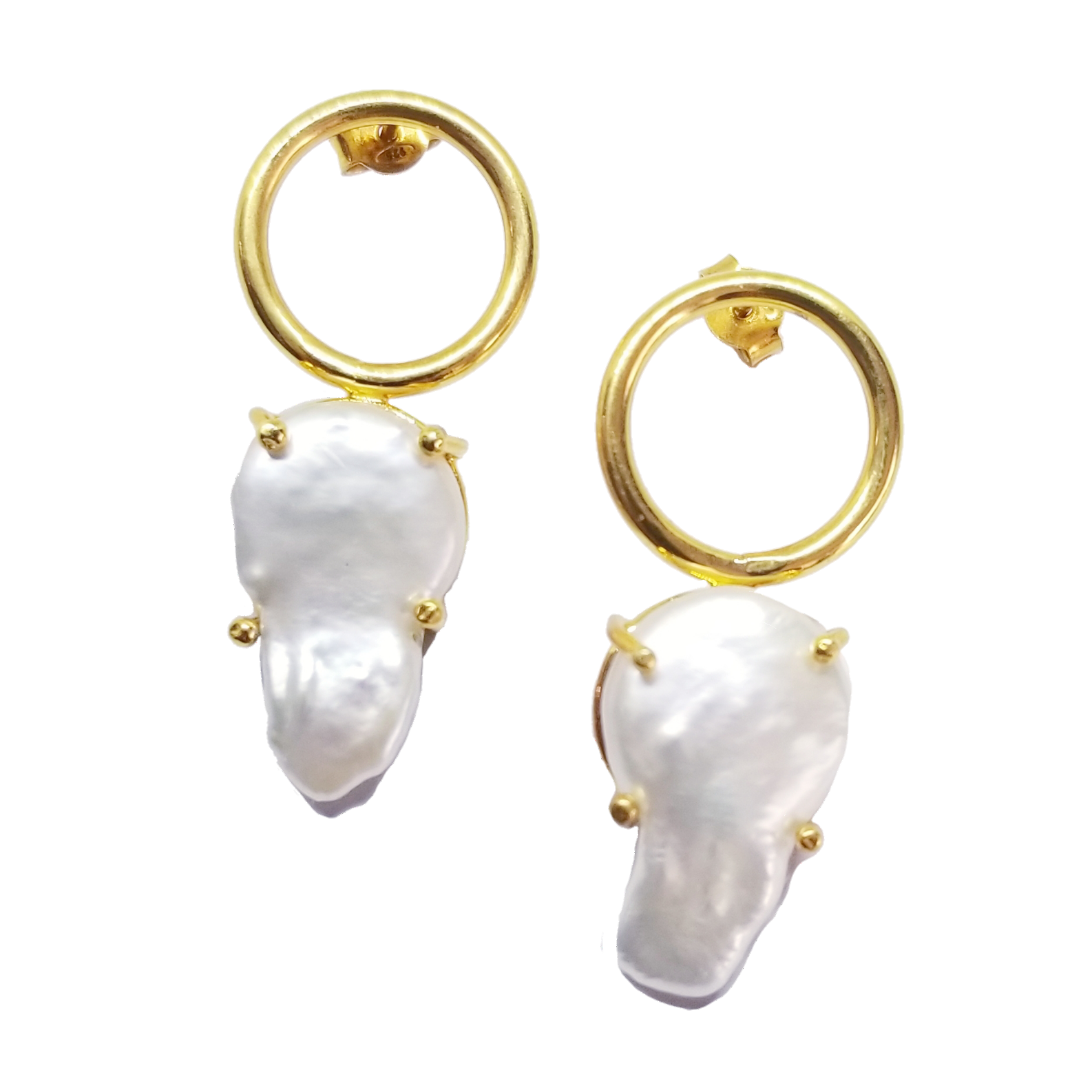 Baroque pearl designer silver 18k gold flashing earrings