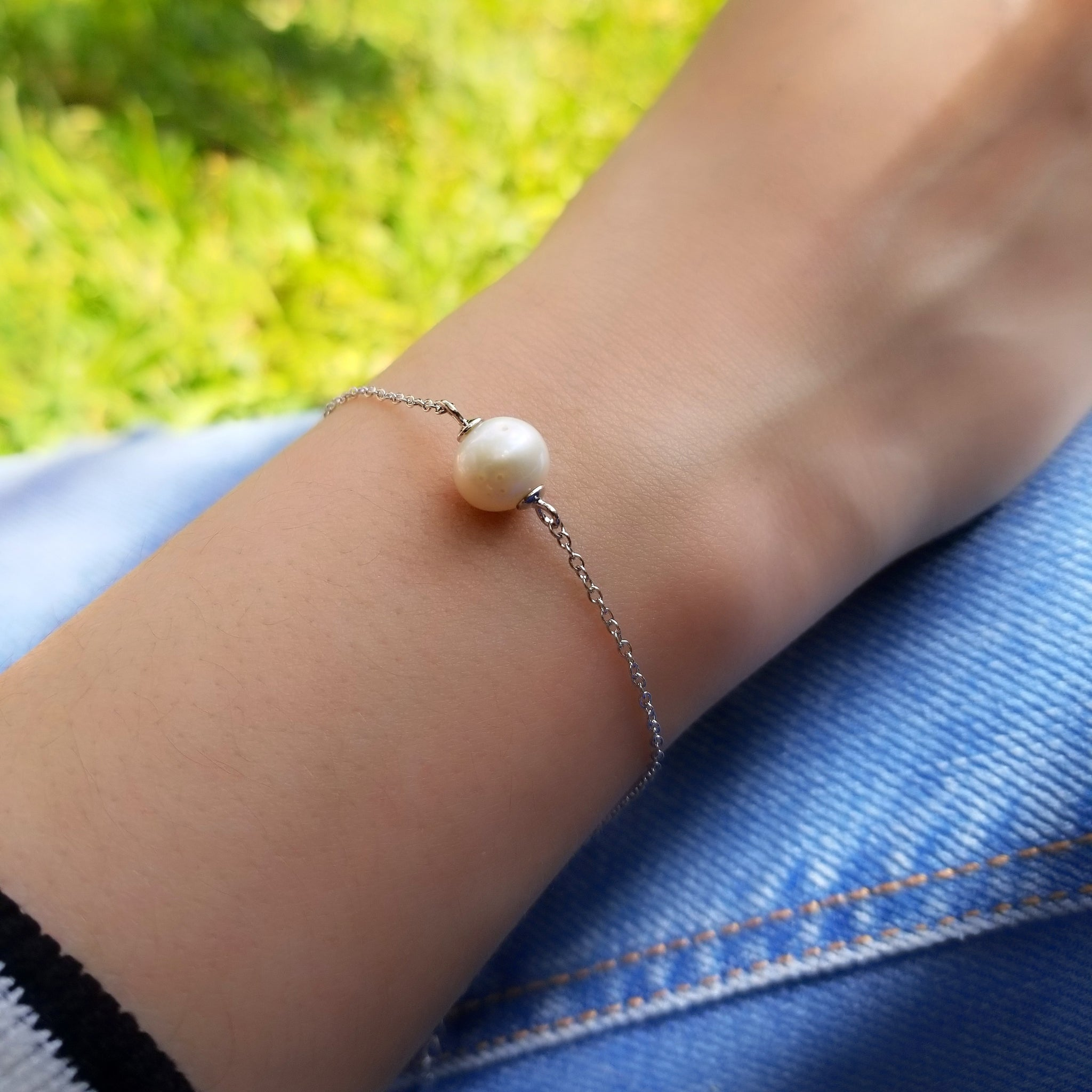 River pearl silver bracelet, white gold-plated