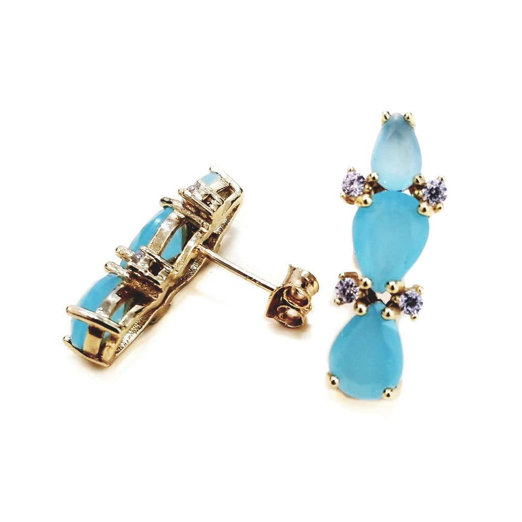 Earrings with blue crystals, zirconia and silver
