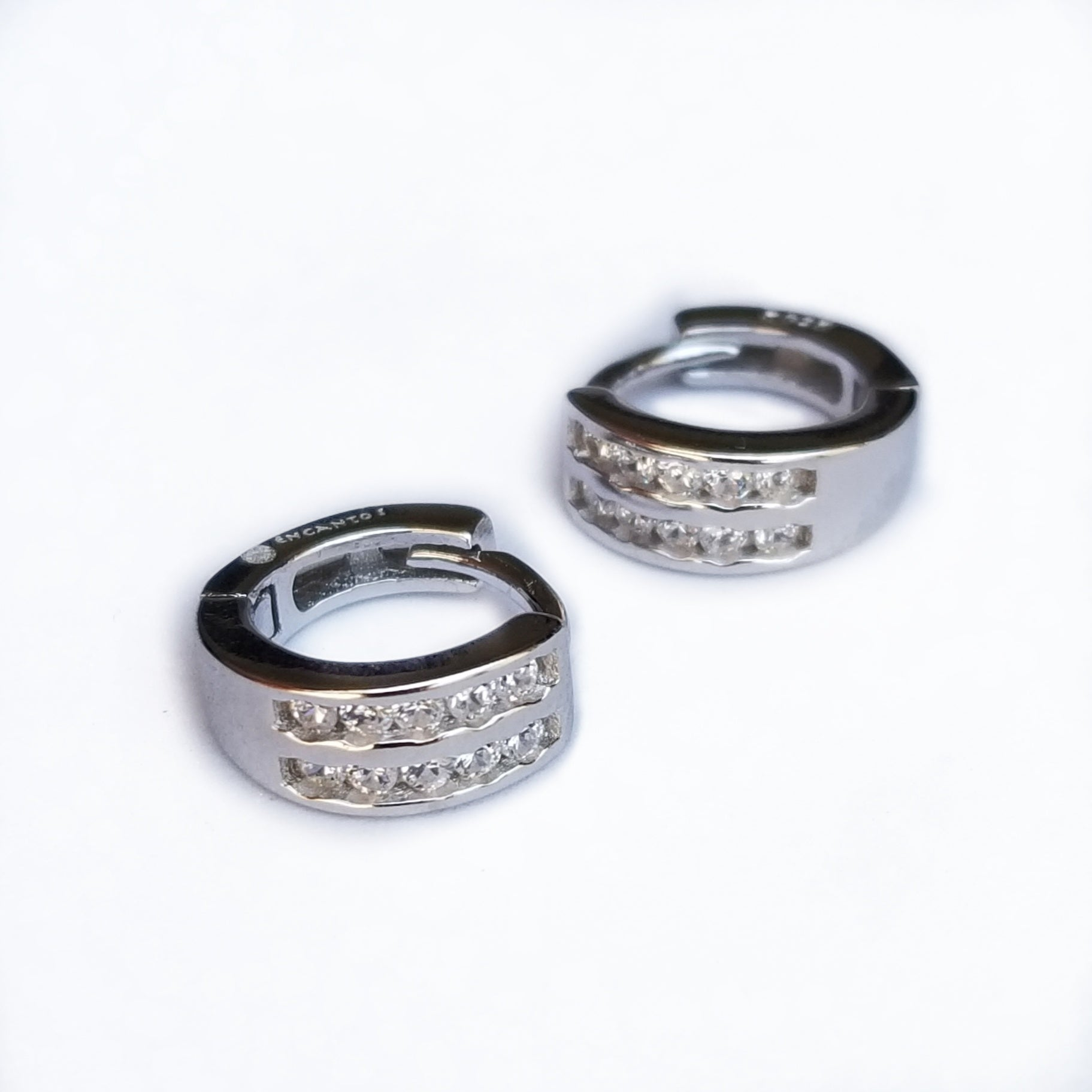 Sterling silver huggies earrings with cz gift idea