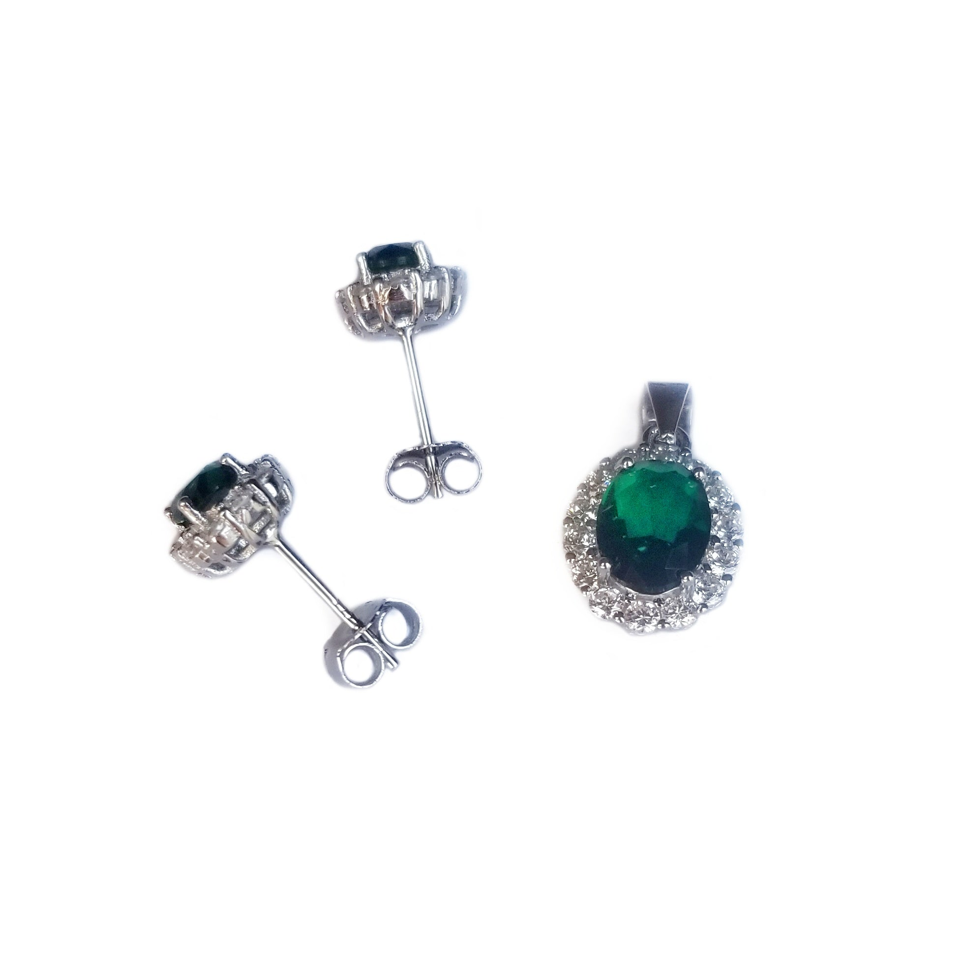 Emerald green CZ sterling silver set