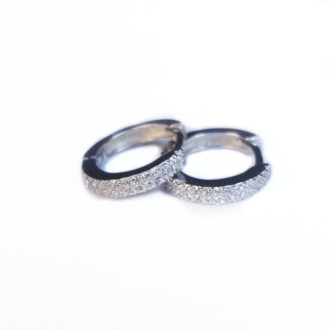Silver earrings with double row CZ