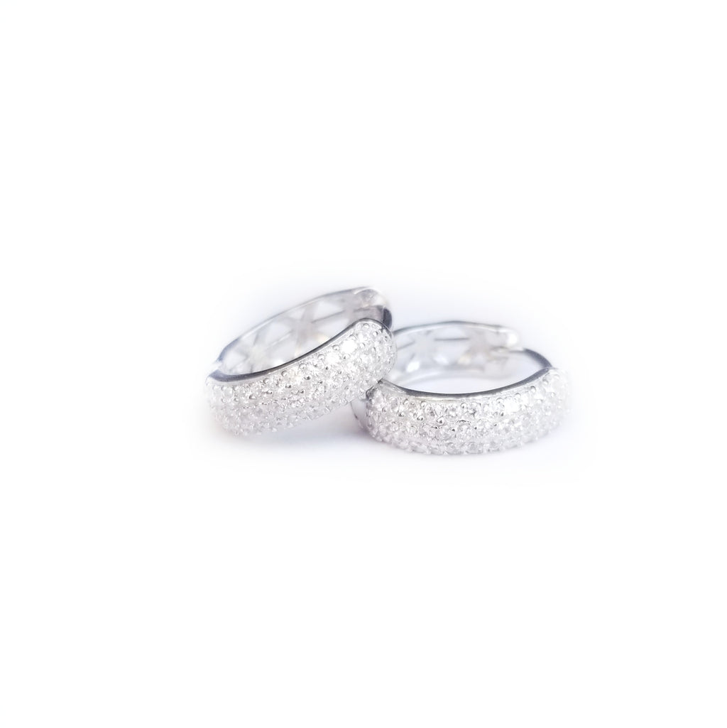 Hoops in sterling silver, earrings with mirco pave CZ