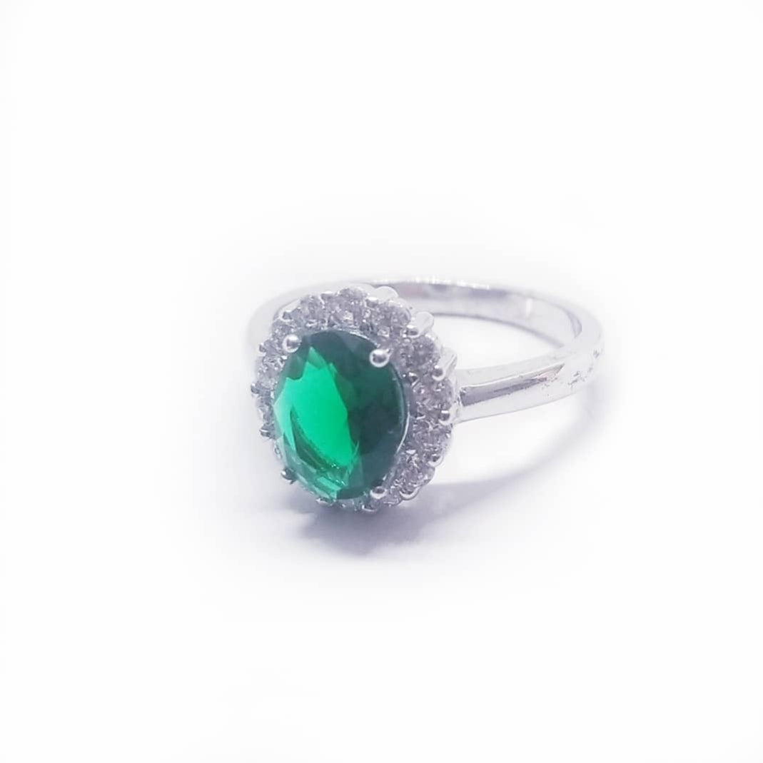 Green emerald colored cocktail sterling silver ring gift idea