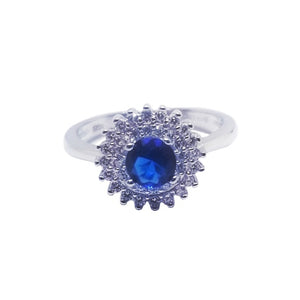 Blue sapphire colored cz silver ring