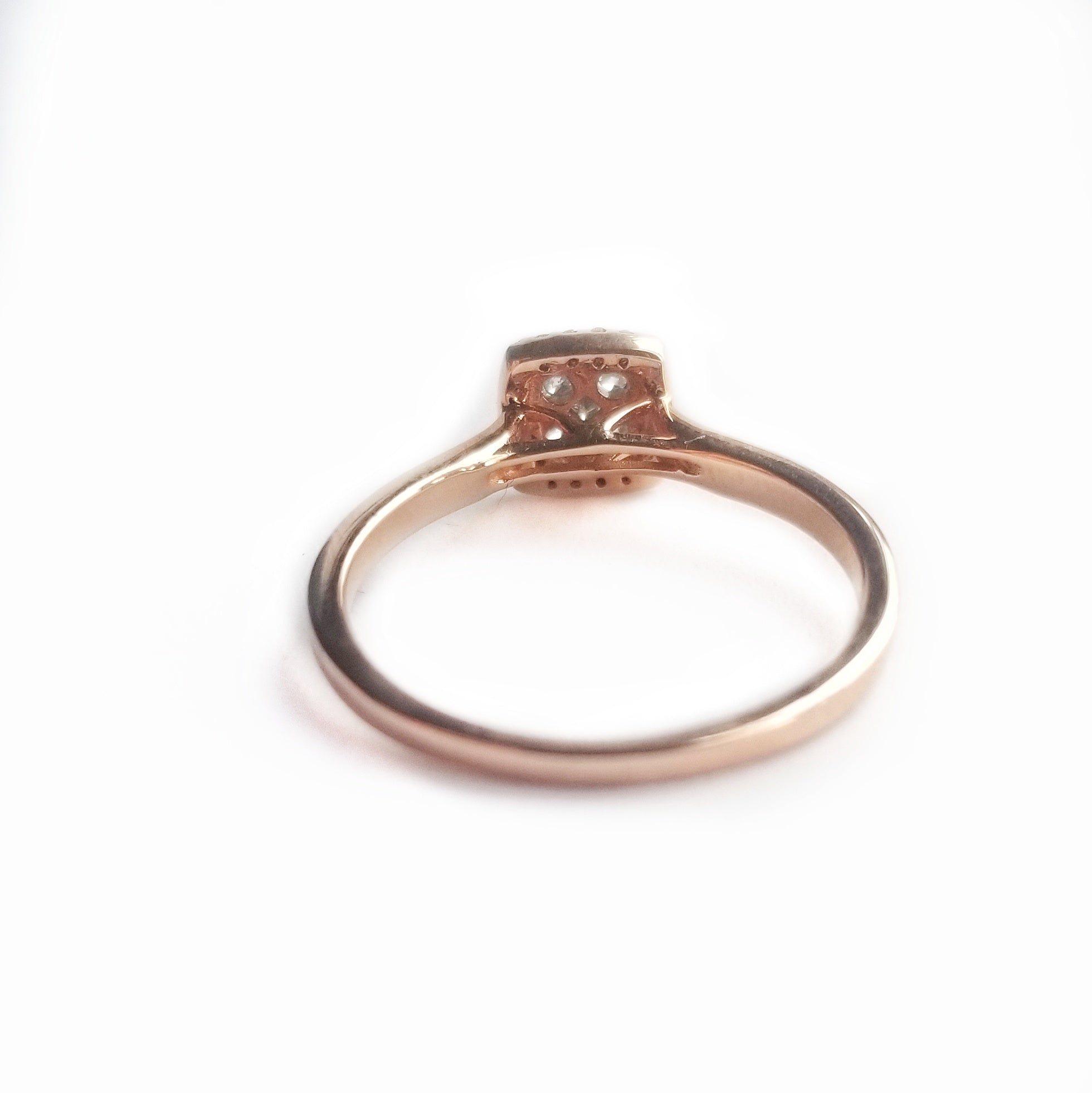 14k rose gold diamond engagement ring duo