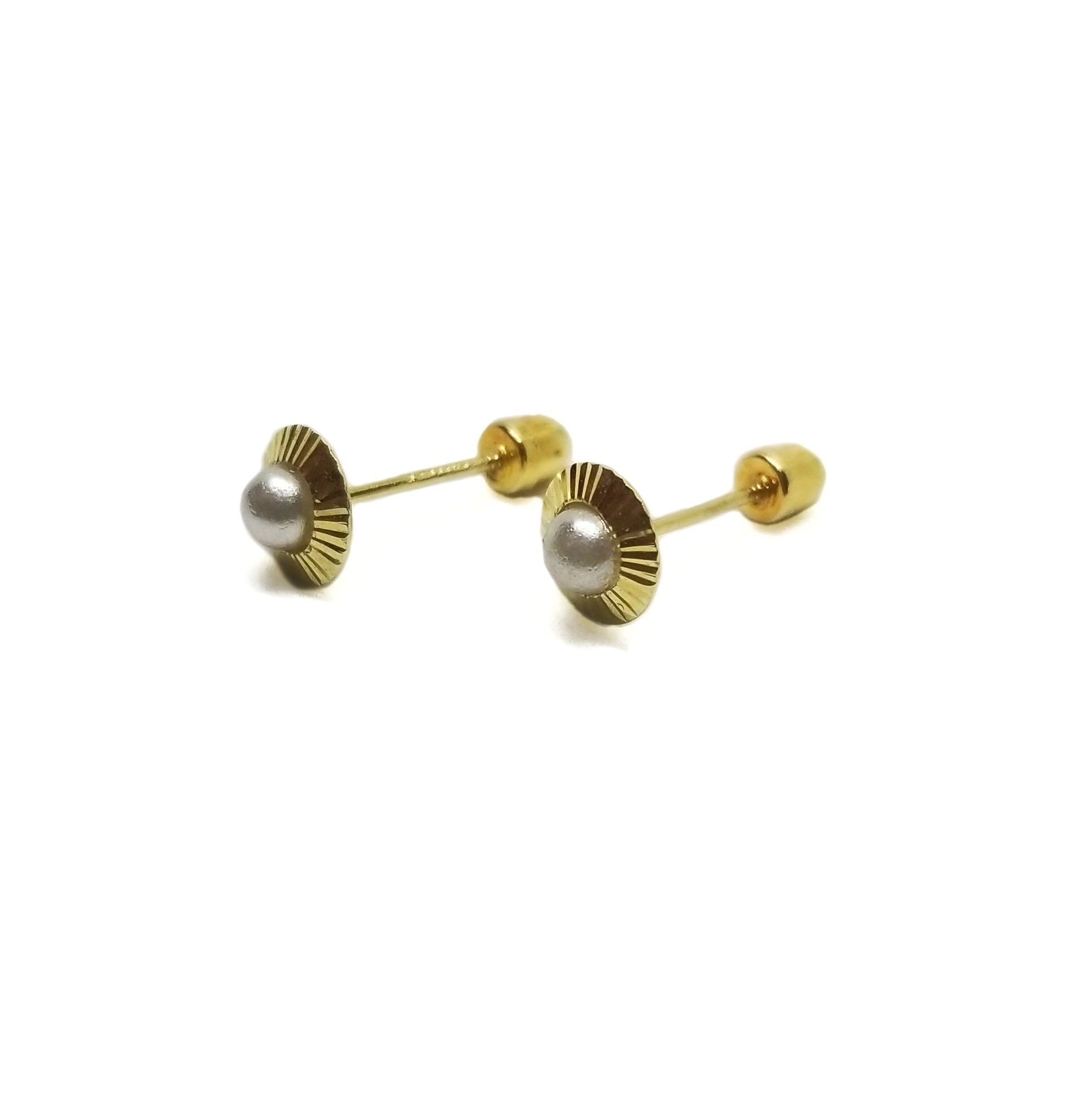 Fresh water pearl baby earrings in 14k yellow gold