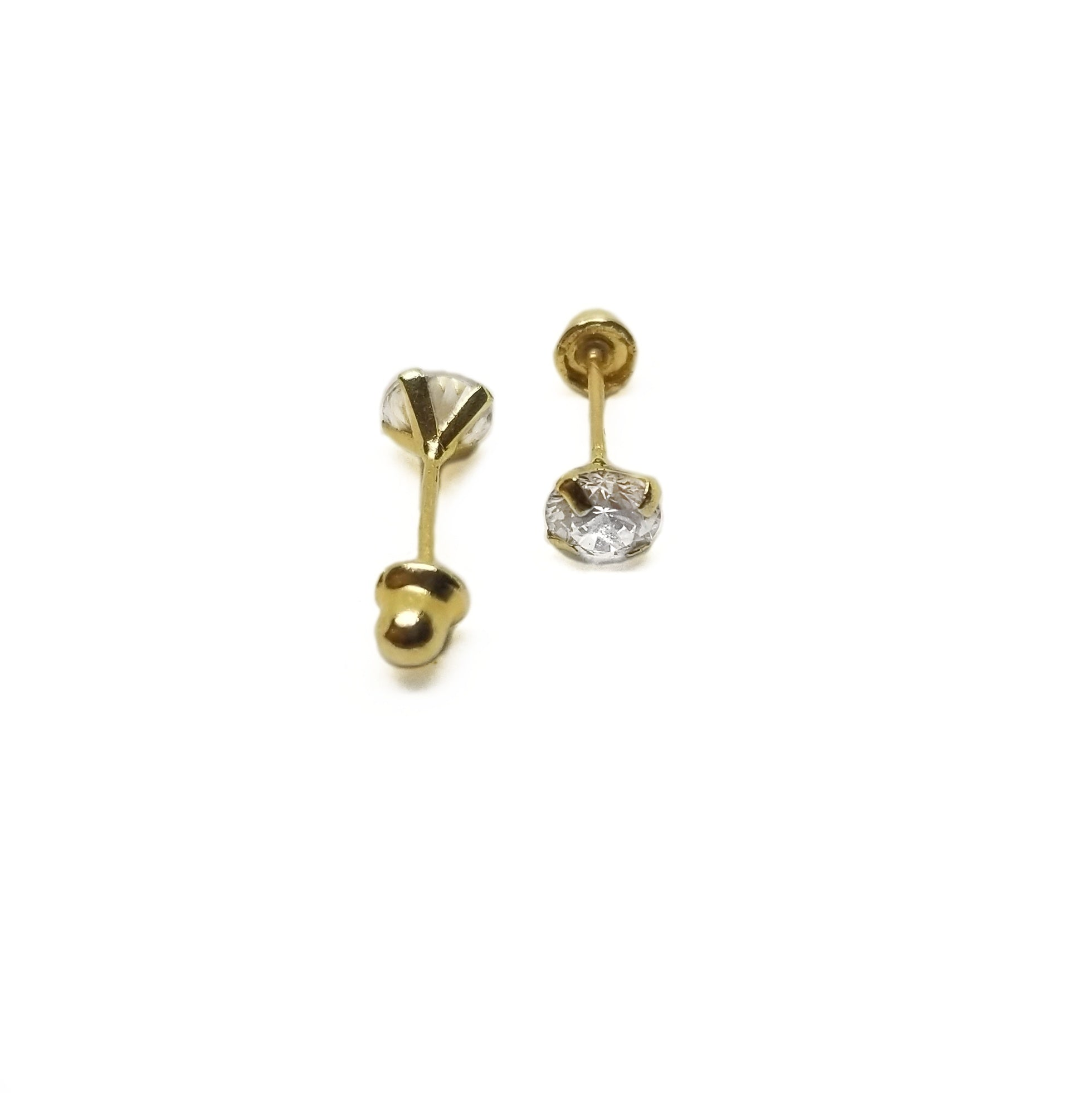 14k gold baby earrings with white cz