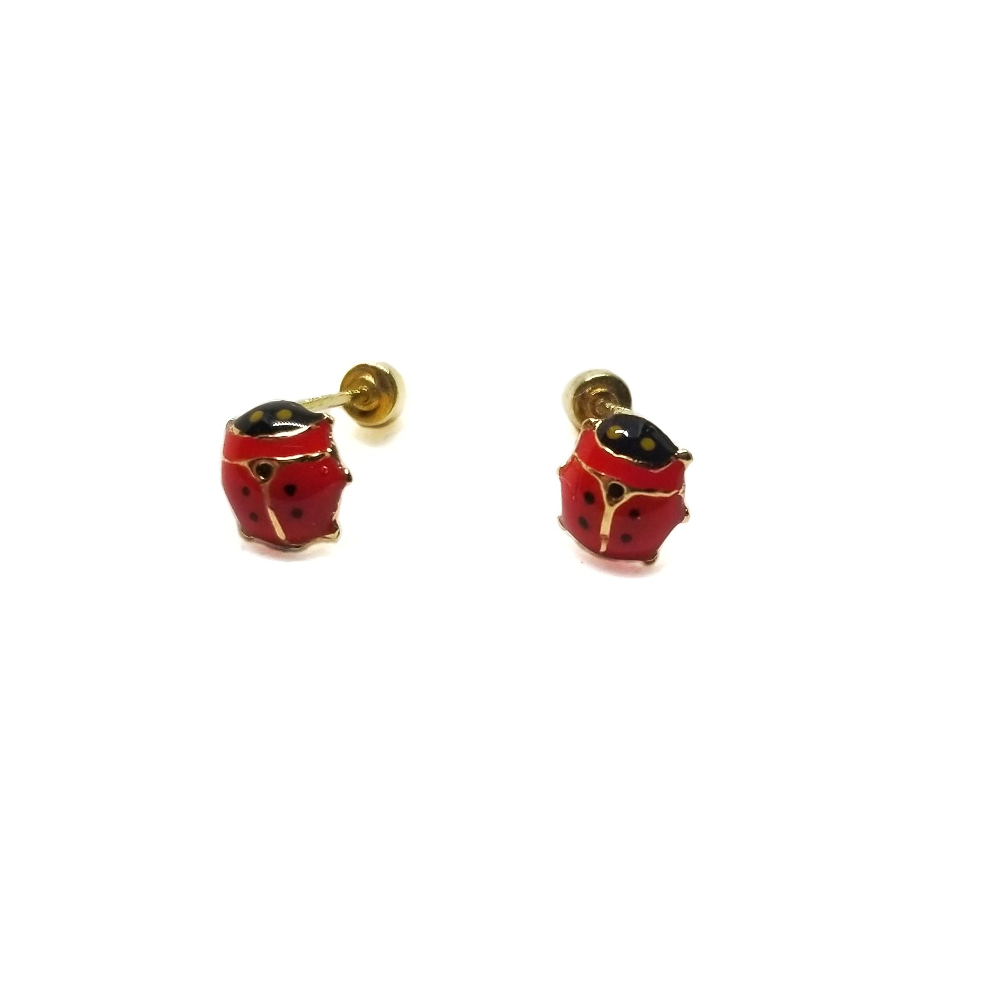 14k gold lady bug baby earrings.