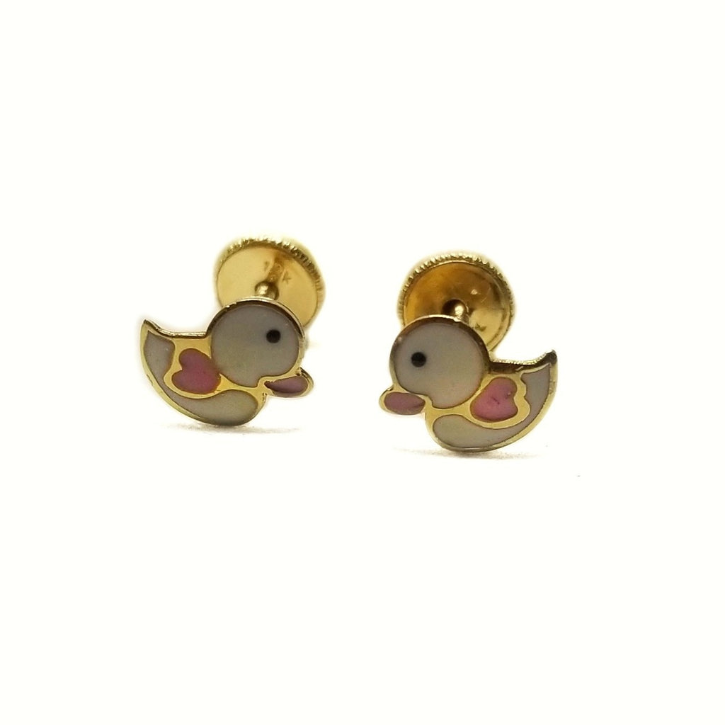 14k gold baby earrings duckies.