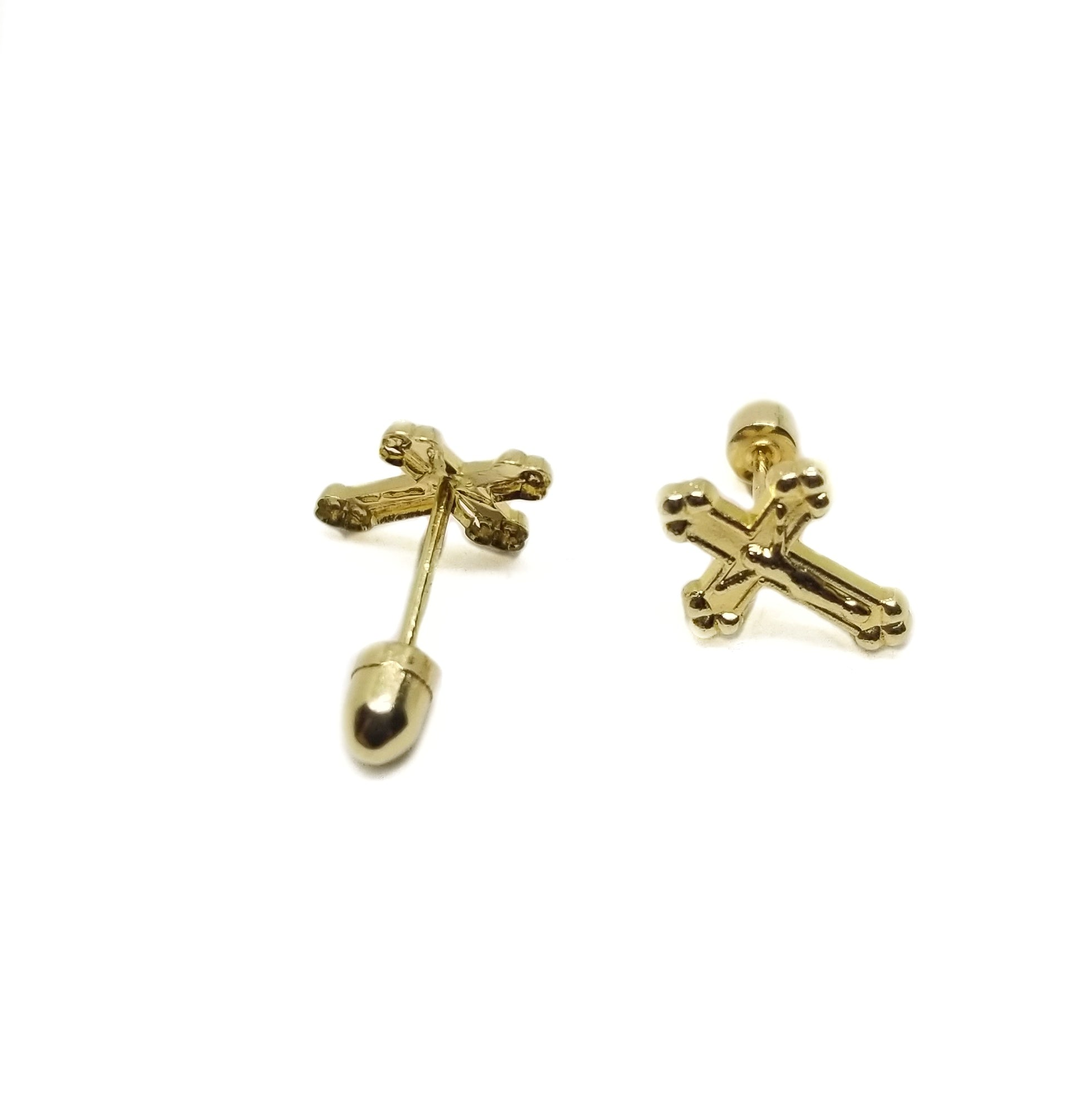 14K gold baby earrings crosses