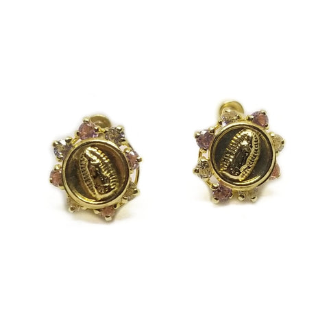 CZ 14k gold baby earrings with Virgin Mary figure.