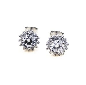 Earrings with zirconia and rhodium-plated