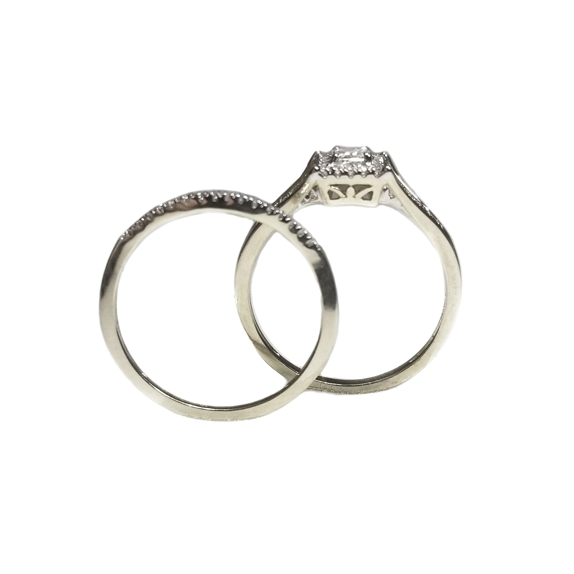 Engagement ring and wedding band duo set in 10k white gold