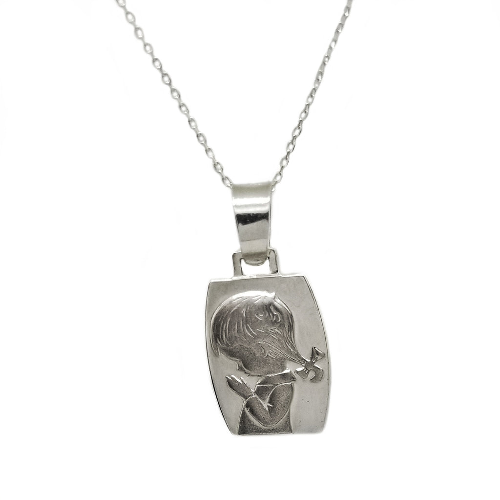 Sterling silver chain and pendant first communion child motive
