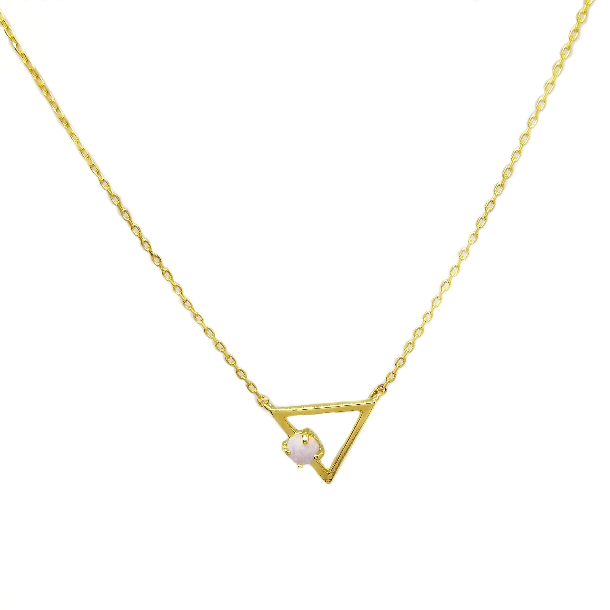 Chain and pendant set sterling silver with gold plated triangle opal