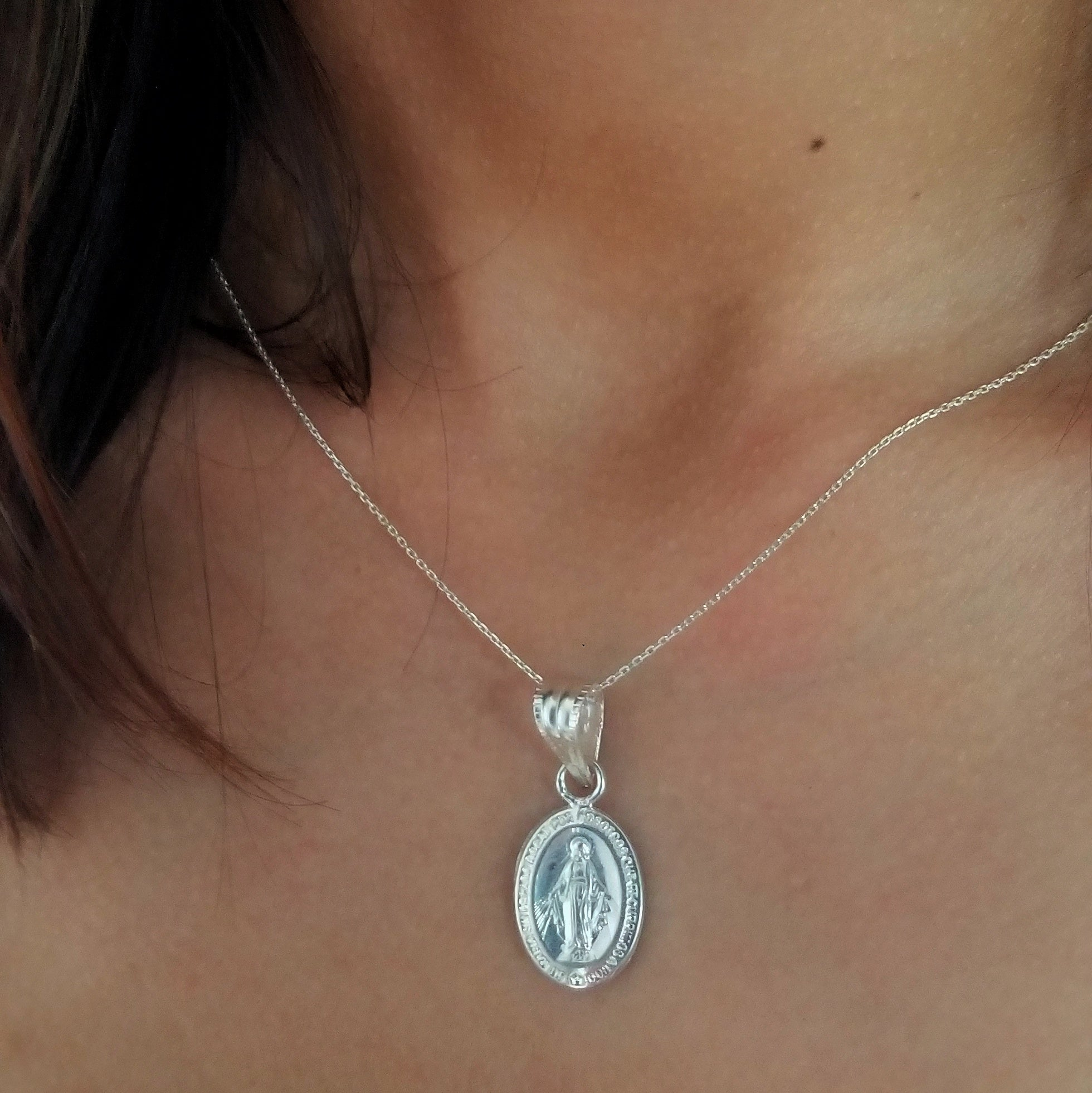 Chain and pendant miraculous Virgin Mary medal sterling silver first communion gift idea