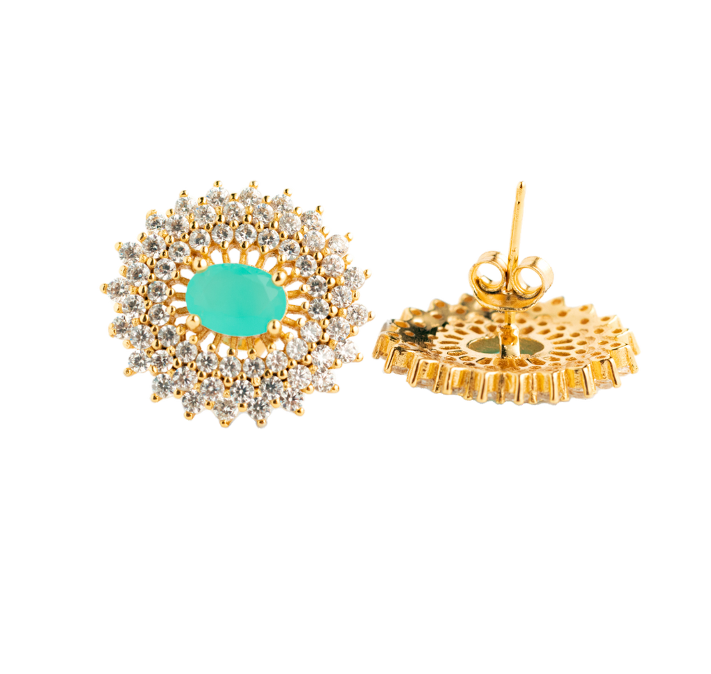 Earrings with zirconia, blue crystals and 18k gold-plated silver