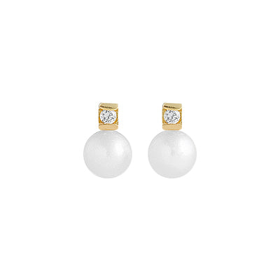 14k Gold baby earrings you and me model with diamonds and cultured pearls