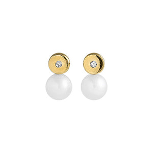 Round diamond 14k gold baby earrings with cultured pearls