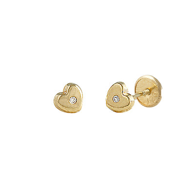 Hearts and diamonds baby earrings 14k Gold