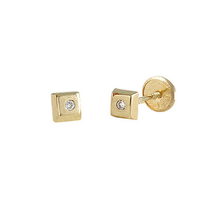 Baby earrings in 14k yellow gold with Diamonds