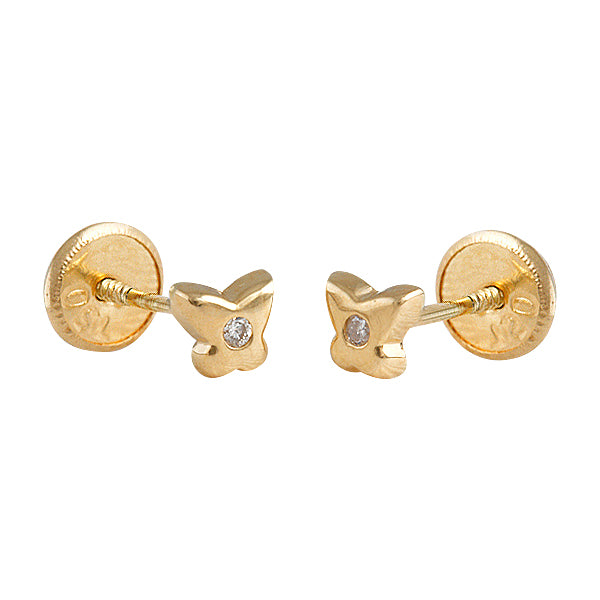 Butterfly baby earrings in 14k gold with diamonds