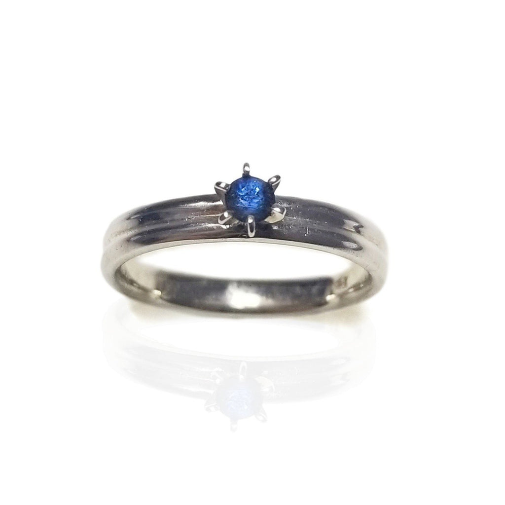 White gold blue sapphire engagement ring