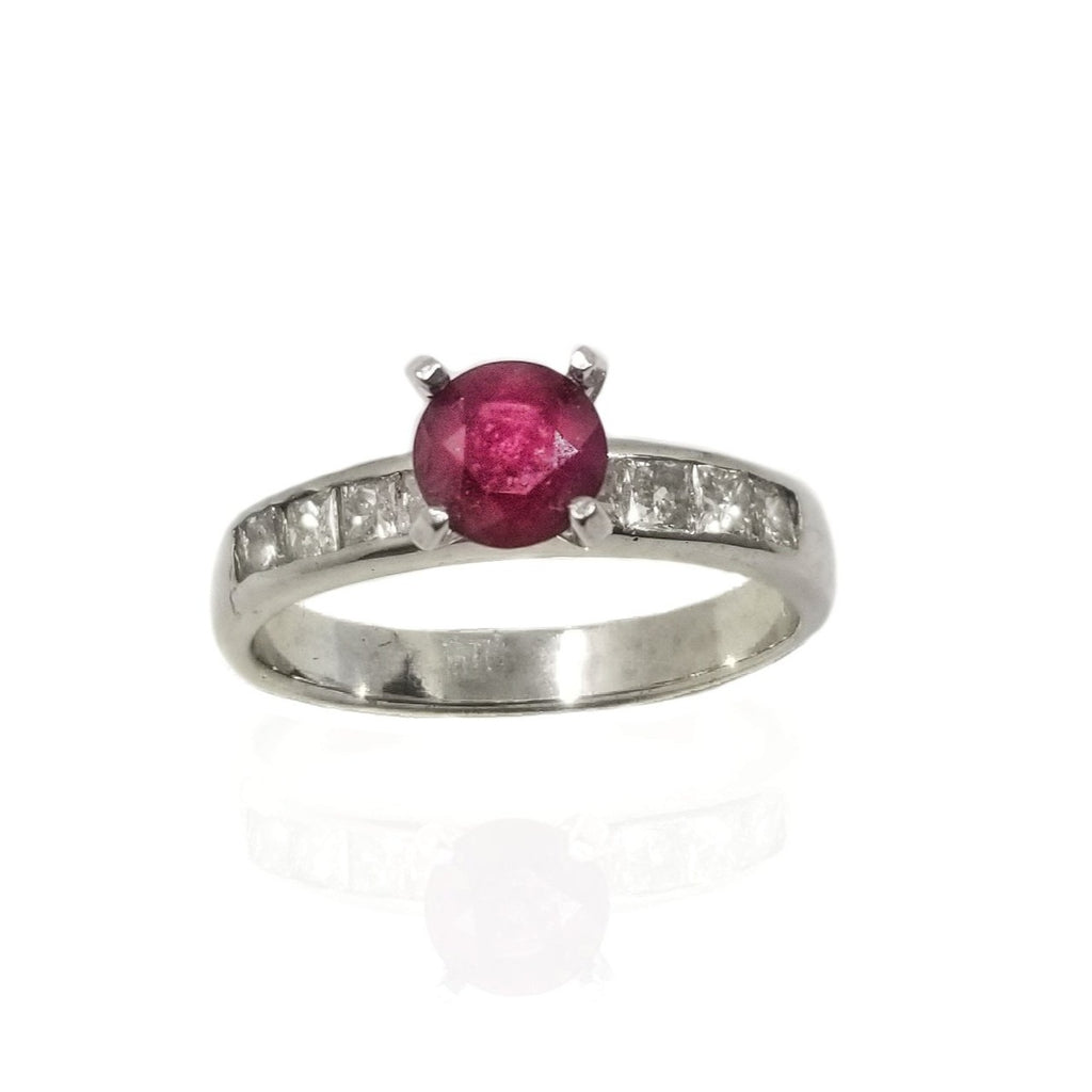 Natural ruby and diamond engagement ring