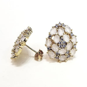 Oval pink crystal, zirconia and 18k gold- plated silver earrings
