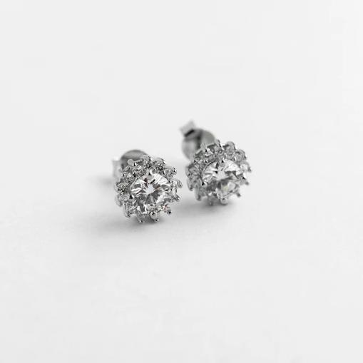 Earrings with zirconia and rhodium-plated silver