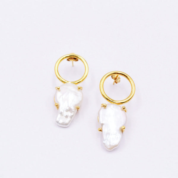 Statement earrings in silver .925 with 18k gold flashing and baroque pearl.