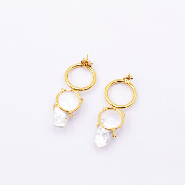 Baroque pearl and 18k gold flashing silver statement earrings.
